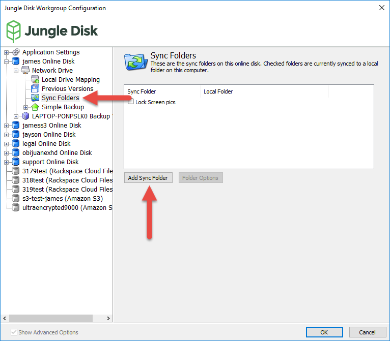 Restoring a Sync folder to a local directory – Jungle Disk